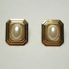 Mabe Pearl Cabochon Earrings Rectangular Frames Wedding Jewelry