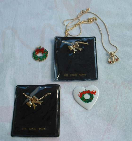 Lot of Christmas Necklaces Two 14K GP Bow Necklaces Avon Bells
