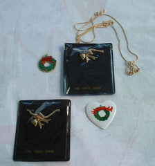 Lot of Christmas Necklaces Two 14K GP Bow Necklaces Avon Bells Enamel Jewelry