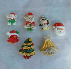 Lot of 7 Vintage Christmas Pins Trees Santa Claus Mouse