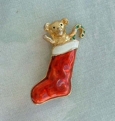 Teddy Bear in a Red Stocking Enameled Pin Christmas Holiday Jewelry