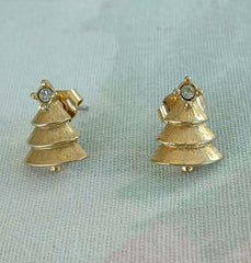 Avon Christmas Tree Earrings Rhinestone Top Holiday Jewelry