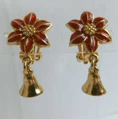 Poinsettia Red Enamel Clip Earrings with Bell Drop Christmas Holiday Jewelry
