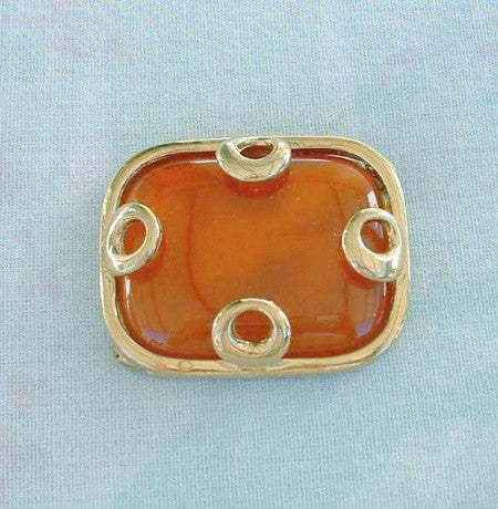 Givenchy Retro Orange Lucite Brooch 1970s Signed Vintage Jewelry