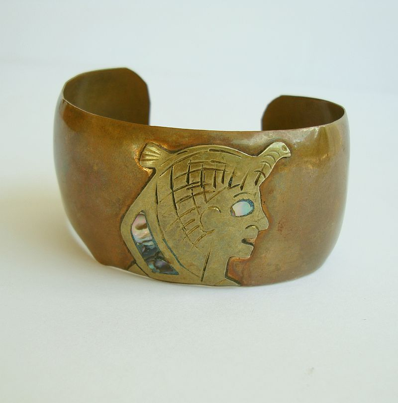 Mexican Copper Wide Cuff Bracelet Aztec Abalone Vintage Jewelry
