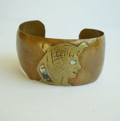 Mexican Copper Wide Cuff Bracelet Aztec Abalone Vintage Figural Jewelry