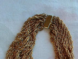 13 Chain Necklace Heavy Collar Bib Antiqued Goldtone Vintage Jewelry