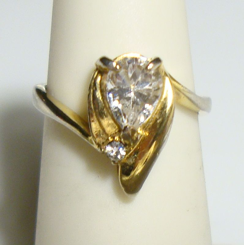 Solitaire Rhinestone Ring Pear Tear Drop Shaped Size 5 Vintage Jewelry
