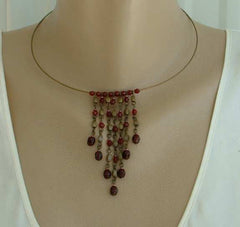 Vintage Ruby Red Faux Garnets Hoop Collar Fringe Necklace Simple Elegant Jewelry