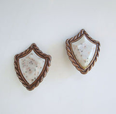Copper Clip On Earrings Retro Confetti Lucite Shield Shaped Vintage Jewelry