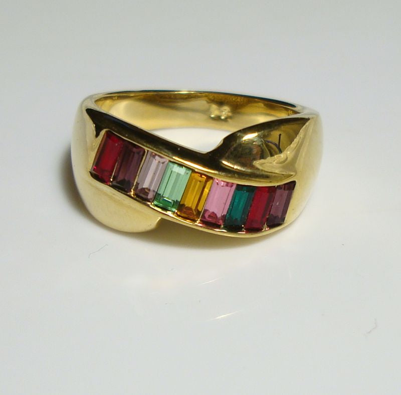 LS Multicolor Rhinestones Band Ring Baguette Cut Size 8 Gold Plated Jewelry