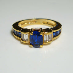 Lind Blue Sapphire Rhinestones Ring Size 8 14K HGE Baguette Cut 1980s Vintage Jewelry