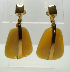 Trifari Marbled Yellow Brown  Lucite Dangle Clip On Earrings Vintage Jewelry