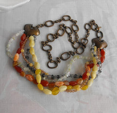Chico's Ultra Long Heavy Runway Statement Necklace or Belt Gemstones Retro Jewelry