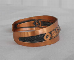 BELL Copper Small Cuff Bracelet Coil Pattern Black Enamel Vintage Jewelry