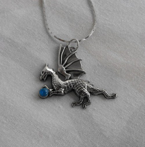 Dragon Necklace Sparkling Blue Stone Danecraft Chain Figural Jewelry
