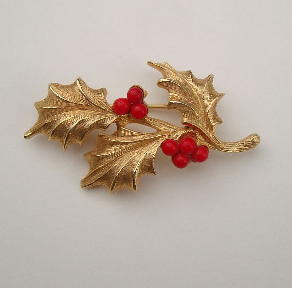 West Germany Mistletoe Pin Red Goldtone Leaves Vintage Holiday Jewelry