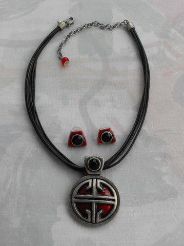 Chico S Mod Red Enamel Pendant Necklace Post Earrings Set