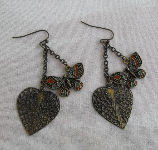 Antiqued Butterfly Heart Dangle Earrings Inlaid Coral Blue Enamel Vintage Jewelry