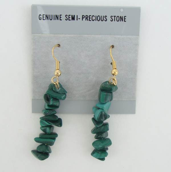 Malachite Chip Dangle Earrings Gemstone Jewelry