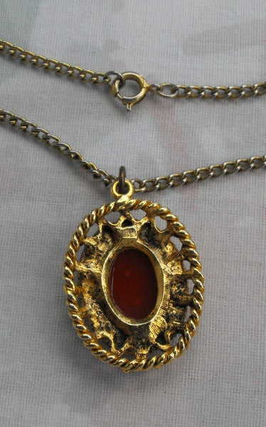 Cameo Pendant Necklace Seed Pearls Openwork Goldtone Frame