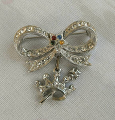 ORA Rhinestone Brooch Crown Drop Maltese Cross Vintage Jewelry