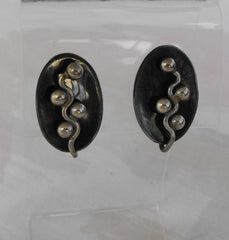 Taxco Mexican 980 Silver Mod Screw Earrings Signed RAK Gray Enamel Vintage Jewelry