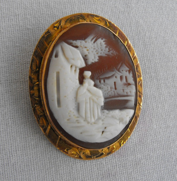 "Finberg 10K Rose Gold 'Rebecca at the Well"" Cameo Brooch Necklace Pendant FMCO Antique Jewelry"