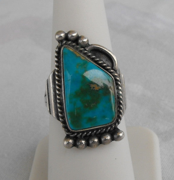 Native American Sterling Silver Ring Size 7.75 Turquoise Pyrite Matrix Vintage