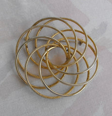 Retro Brooch Very Large Atomic Pattern Textured Goldtone Vintage Jewelry