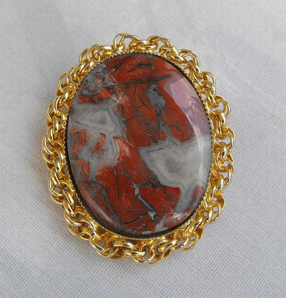 Red Blue Agate Brooch Necklace Pendant Abstract Pattern Lacey Rope Frame