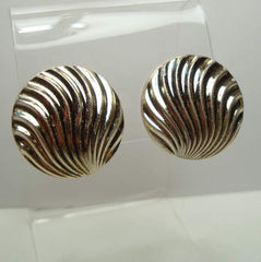Corolite Pegasus Chrome Plated Shell Clip On Earrings Vintage Jewelry