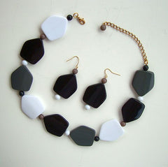 Black White Geometric Necklace Dangle Earring Set Vintage Jewelry