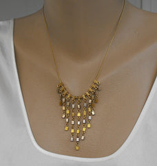 Napier Fringe Bib Necklace Goldtone Geometric Beads 1960s Vintage Jewelry
