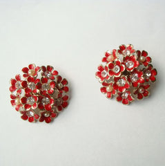 Flamboyant Red Flower Clip On Earrings Rhinestones Pearls Vintage Floral Jewelry