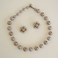 West Germany Probably Gray Silver Bead Necklace Clip On Earrings Set Vintage Jewelry
