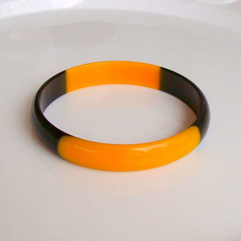 Butterscotch Dark Brown Plastic Bangle Bracelet Vintage Jewelry