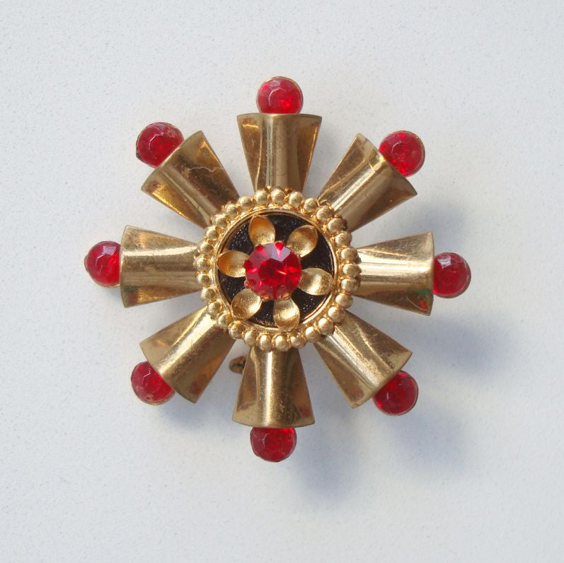 Composite Red Ruby Art Deco Style Pin Atomic Design Jewelry