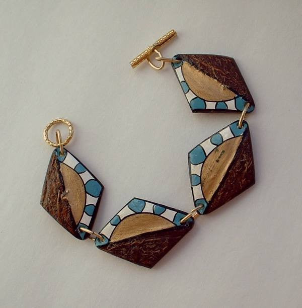 Hand Painted Coconut Shell Braclet Blue White Gold Vintage Jewelry