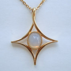 Sarah Coventry MOON BEAM Pendant Necklace Faux Moonstone 1970s Vintage Jewelry
