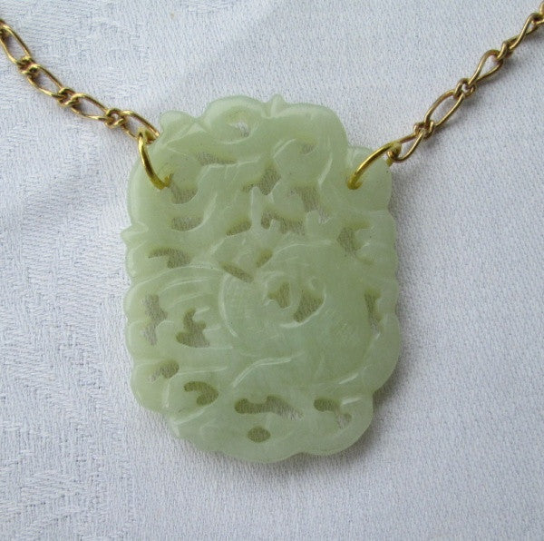 Carved Jade Pendant Necklace Green Apple Dragon Design