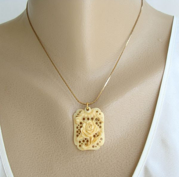 Carved Bone Rose Pendant Necklace Vintage Floral Jewelry Sharon S Vintage Jewelry