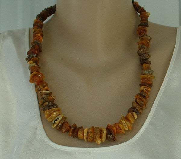 Genuine Raw Baltic Amber Necklace 23-Inches Long Gemstone Jewelry