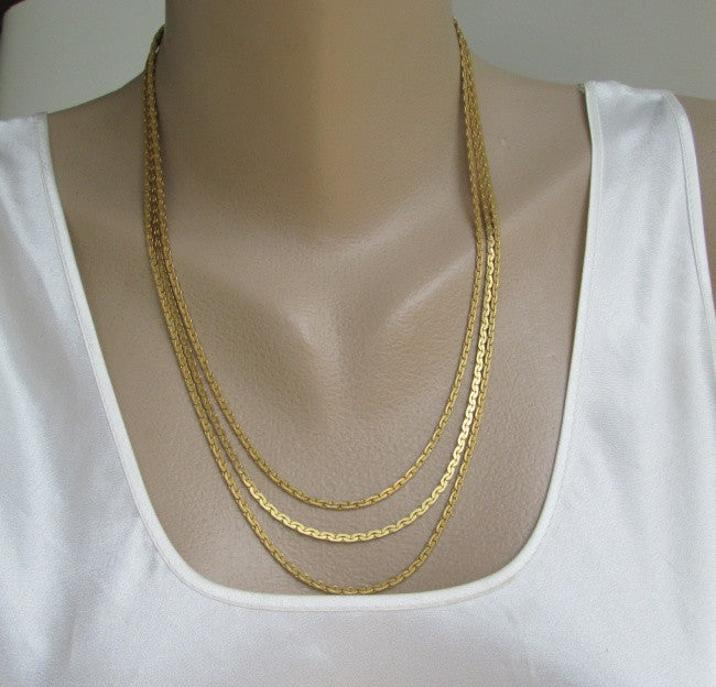 Goldette Triple Chain Necklace C-Style Vintage Designer Signed Jewelry