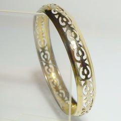 Lightweight Bangle Bracelet Goldltone Openwork Jewelry