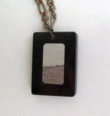 Picture Jasper Pendant Necklace Lt Gray Black Brown Gemstone Jewelry