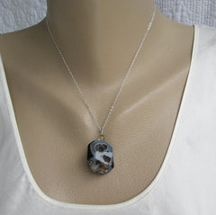 Drusy Banded Onyx Pendant Necklace Black Gray Blue Druzy Gemstone Jewelry
