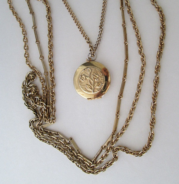 Goldette Style 4-Strand Locket Necklace Fancy Clasp Vintage Jewelry