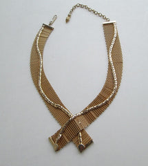Jewels by Julio Mesh Necklace Snake Chain Accents Vintage 1950s Jewelry