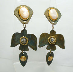 Oxidized Brass Indian Eagle Thunderbird Dangle Earrings MOP Vintage Figural Jewelry